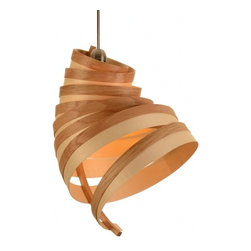 EcoFirstArt - Honey Bee Light - While this honey-colored light fixture may resemble a bee's hive, you can rest assured it will neither sting nor attract creatures in search of something sweet. The tapering spiral of oak and sycamore was created using steam bending, which allows wood to be gently guided into elegant curves. Handcrafted in England by an artist who specializes in creating ecofriendly, quality furniture and lighting.