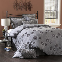 Lush Decor - Lush Decor Sara 3-piece Comforter Set - It's all in the details and there isn't a better bed to appreciate these touches than this Sara comforter set. Made from an incredibly soft and organic feeling cotton blend,the set has beautiful flowers formed from ribbon embroidery.