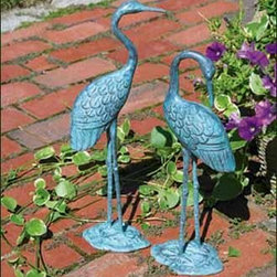 "Love Cranes Pair - Elegantly and meticulously crafted in brass to grace a favorite garden spot throughout the seasons, year after year. 17"" H, and 15"" H."