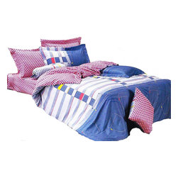 Le Vele - Le Vele - Jean, Twin Size 4pc Duvet Cover Sheet Set Bedding 100% Cotton LE455T - Get the same laid-back relaxation that you get wearing your favorite blue jeans with Le Vele's 100% Cotton Jean bedding set featuring stylish colors and motifs.