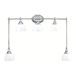 KICHLER - KICHLER Transitional Bathroom Light X-HC1735 - This Kichler Lighting bathroom light features five vintage, almost industrial-styled shades made from a cased opal glass. From the Pocelona Collection, it also features an elegant Chrome finish for a unique and polished look. U.L. listed for damp locations.