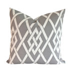 The Pillow Studio - Outdoor Pillow Cover in Geometric Pewter Grey and Ivory - Outdoor pewter grey and ivory geometric gate patterned pillow cover sized 18x18. (Let me know if you would like a custom size.)