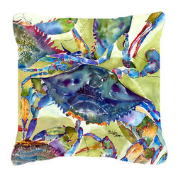 Caroline's Treasures - Crab All Over Fabric Decorative Pillow - Indoor or Outdoor Pillow from heavyweight Canvas.  Has the feel of Sunbrella Fabric.  18 inch x 18 inch 100% Polyester Fabric pillow Sham with pillow form. This pillow is made from our new canvas type fabric can be used Indoor or outdoor. Fade resistant, stain resistant and Machine washable..