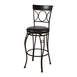 Linon - Upholstered Circles Back Swivel Stool in Brow - Choose Seat Height: 24 in.Circular design elements on the back add a graceful appeal to this metal stool, available in your choice of counter or bar heights. The stool is made of metal with graceful curved legs and has a cushioned seat with a brown PVC cover. It is finished in black. Swivel seat. Cushion is piled high for extra comfort and covered in a wipe clean Brown vinyl which is resistant to everyday wear and tear. Wipe clean Brown PVC seat cover. Crafted of metal and highlighted with subtle curves and a distinctive back. 275 lbs. Weight limit. Minimal assembly required. 17 in. W x 20 in. D x 40.5 in. H, Seat height: 24 in.. 17 in. W x 20 in. D x 46 in. H, Seat height: 30 in.The elegance and unique style of this Circles Back Stool will carry throughout your kitchen, dining, or home pub area. This stool is a positively striking addition to your home. This stool is versatile for any gathering area Finished in Brown with subtle Black brush strokes and a Brown wood accent.