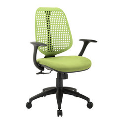 Modway Furniture - Modway Reverb Office Chair in Green - Office Chair in Green belongs to Reverb Collection by Modway Reverb is a flexible and responsive chair built for years of ergonomic comfort. Designed to offer support over both your lower and upper back regions, the adaptable mesh back and waterfall seat design help keep you alert, while effectively distributing the weight of your body. The pneumatic lever and tension control knob fine-tune the chair's height and tilt to personalize Reverb, while the armrests keep your upper-body is well-positioned. Although mesh designs have increased in popularity in recent years, Reverb offers a choice that is both stylish and works admirably well to protect your body from daily stresses. The nylon base comes equipped with five dual-wheeled hooded casters for easy gliding over carpeted surfaces, and the molded foam seat pan comes generously padded for extra comfort. Set Includes: One - Reverb Office Chair Office Chair (1)