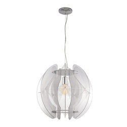"Trans Globe Lighting - Trans Globe Lighting PND-955 Flared Acrylic Wire Frame 20"" Contemporary Pendant - Adjustable height - hang semi-flush or drop 96"". Shown with medium base G25 bulb. Acrylic wire and edging. 1 light pendant."