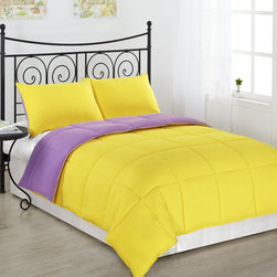 Reversible Down Alternative Comforter Set by ExceptionalSheets - Whether you are looking for a comforter to match your diehard obsession with a sports team or just like to change things up, these reversible comforters are for you! For those of you who are allergic to feathers but long for the warmness, Style and coziness of a comforter. This Comforter has all the right ingredients; Soft, Colorful, Comfy and AFFORDABLE. The Reversible Down Alternative Comforter is made from micro fiber and is as soft as goose down. It is treated with anti-microbial finish to repel dust mites and is ideal for allergy sufferers. Lastly, it is constructed using a box stitching design to avoid any shifting of the fill. Machine washable!