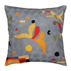 "Modern Wool - Kandinsky Elements Blue Pillow Cover Hand Embroidered 18"" x 18"" - This festive, parti-colored throw cushion is evocative of Wassily Kandinsky's biomorphic paintings. The contrast of the bright colors against the blue background makes for a simplistic yet eye-catching cover. Unique design and Kandinsky abstractionism make this pillow artful and must for any modern home. It would make an exciting accent pillow for your couch, sofa or home office.  Create a vibrant point of interest for your décor. A close-up view of this abstract pillow cover allows you to see the amazing chain-stitch embroidery work of master artisans who have practiced this art their entire lives.This decorative pillow cover could grace the cabin of your boat or the chair in your solarium and yet be equally as comfortable in your den."