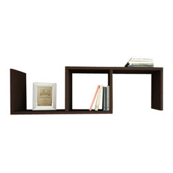 Matte - Dibi Bookshelf by Matte, Wenge - Simple and stylish, the Matte Dibi Wall Shelf, is a contemporary and angular design that is perfect for displaying your favorite books and objects. Featuring one compartment and two shelves, it is perfect for storing and displaying books, artwork and much more.