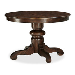 Tivoli Fixed Pedestal Dining Table, Tuscan Chestnut Stain - This table is perfect for a small dining room.
