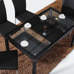 CT 71 Modern Dining Table - Modern dining table with black base, glass top, and storage.