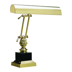 """House of Troy - 14"""" Polished Brass/Black Piano/Desk - Dimensions: 17""""D, 14""""W, 12""""D. Shade Size: 14"""""""