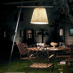 "Anton Angeli - Anton Angeli Miami F3 outdoor floor lamp - The Miami F3 outdoor floor lamp was designed by Jan Van Lierde for ALMA LIGHT. Part of the Miami outdoor series, the F3 floor lamp is tall and sturdy, with it's stone base. Wheels come with the fixture for easy movement anywhere in the yard. The E26 socket allows for a wide range of bulbs, we recommend an eco friendly fluorescent bulb. Adjustable height.  Product Details: The Miami F3 outdoor floor lamp was designed by Jan Van Lierde for ALMA LIGHT. Part of the Miami outdoor series, the F3 floor lamp is tall and sturdy, with it's stone base. Wheels come with the fixture for easy movement anywhere in the yard. The E26 socket allows for a wide range of bulbs, we recommend an eco friendly fluorescent bulb. Adjustable height. Details:                                     Manufacturer:                                      Anton Angeli                                                     Designer:                                     Jan Van Lierde                                                     Made in:                                     Italy                                                     Dimensions:                                      Height Max: 100"" (255 cm),  Diffuser D: 19.7"" (50 cm), Base: 26 X 16"" (65 X 40 cm)                                                     Light bulb:                                      1 X 25W E26 fluorescent                                                     Material:                                      Glass, Metal, Stone"