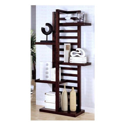 Coaster - Contemporary Bookcase - Asymmetrical slat back. Four staggered shelves. One fixed lower shelf. Made from wood. 42 in. W x 15.75 in. D x 78.5 in. H. WarrantyThis bold contemporary bookcase will add stylish storage to your living room, office or hallway. Spacious lower shelf offer lots of space for books, framed photos and your favorite decorative items. Add unique style to your home with this sophisticated storage unit for an instant style update in any room of your home.