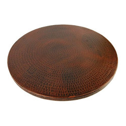 Premier Copper Products - 18 in. Hand Hammered Copper Lazy Susan - Configuration: Round. Design: Hammered Copper Surface. Color: Oil Rubbed Bronze. Easy To Clean and Maintain. Includes Premium Swivel Base. Hand Made. Composition: 99.7% Pure Recycled Copper. Lead Free (less than .01%). Patina: Fired. Packaging: Recycled Cardboard Box. Warranty: Limited Lifetime. 18 in. Diameter x 1.5 in. H ( 10 lbs. ). Product SpecificationsUncompromising quality, beauty, and functionality make up this Hand Hammered Copper Lazy Susan. Green Recyclable Products like Copper Sinks are a must have in today's modern home. This product is sure to impress your guests and satisfaction is always guaranteed.