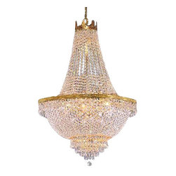 "The Gallery - French Empire Crystal Chandelier Lighting H30"" X W24"" - 100% CRYSTAL CHANDELIER, this chandelier is characteristic of the grand chandeliers which decorated the finest Chateaux and Palaces across Europe and reflects a time of class and elegance which is sure to lend a special atmosphere in every home. This item comes with 18 inches of chain. SIZE: W.24 X H.30"" 9 LIGHTS. Lightbulbs not included.Assembly Required."