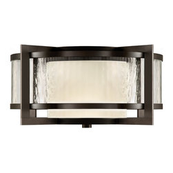 Fine Art Lamps - Singapore Moderne Outdoor Outdoor Flush Mount, 817982ST - Light the way to your home with this streamlined yet stylish fixture. A combination of milky and clear, textured glass set in a rich bronze patina sends a modern message of welcome.