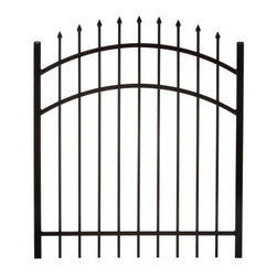 Specrail Madison Aluminum Arched Gate 3-Rail Panel - 4 ft. - Whether you're enclosing your pool, protecting your property, or setting apart a section of your yard for a garden, the Specrail Madison Aluminum Arched Gate 3-Rail Panel - 4 ft. is an elegant and durable choice. Crafted from high quality, heavy walled aluminum that won't rust, this arched gate is also designed to be maintenance free, which means you don't have worry about painting or staining! Made in the finest fabrication and finishing facilities in the industry, this elegant gate has fully welded construction, as well as welded corner gussets, which add strength and durability. Made to look like wrought iron, this arched gate includes two self-closing hinges and a pad-lockable gravity latch. It's also easy to install so you'll have it up in no time.Additional FeaturesUse with DIY Fence System Universal PostUse with the DIY Fence Belleville 483 Fence Panel SystemNot advisable to mix and match fencing brandsAll welded construction is durable and strongWelded corner gussets add strengthLooks beautiful and protects your propertyIncludes 2 self-closing hingesAlso includes pad-lockable gravity latchGives you the beauty of traditional wrought ironEasy to installAbout SPECRAILSPECRAIL has been designing aluminum products of the highest quality for over 50 years. They offer the widest selection of any ornamental aluminum fencing company, and their extraordinary line includes 11 styles, 4 grades, and 5 colors. SPECRAIL brings beauty, strength, and a traditional wrought iron look to their maintenance-free aluminum fencing. Every piece they manufacture represents their strong commitment to meeting the needs of their customers and their dedication to quality.