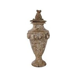 """Pietra Natural Medium Canister - The medium canisters will pair well on a mantel of any style or add to a collection of books and decorative objects or on a console table. (14""""H)"""