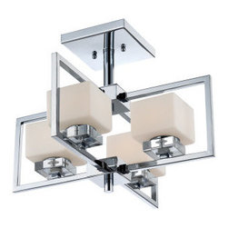 Quoizel - Quoizel WIN1718 Wain Semi-Flush Ceiling Fixture with 4 Lights - Add a splash of elegance to your home with this tantalizing 4 light semi-flush ceiling fixture featuring dazzling etched opal glass.Features: