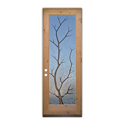 Sans Soucie Art Glass (door frame material T.M. Cobb) - Glass Front Entry Door Sans Soucie Art Glass Branch Out in Color - Sans Soucie Art Glass Front Door with Sandblast Etched Glass Design. Get the privacy you need without blocking light, thru beautiful works of etched glass art by Sans Soucie!This glass is semi-private. Door material will be unfinished, ready for paint or stain.Bronze Sill, Sweep and Hinges. Available in other finishes, sizes, swing directions and door materials.Dual Pane Tempered Safety Glass.Cleaning is the same as regular clear glass. Use glass cleaner and a soft cloth.