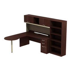 """BBF - BBF Quantum 72W x 30D LH Peninsula L-Desk with 3-Drawer Ped and 5-Shelf Bookcase - BBF-Commercial Grade Office-QUA009CSL-Artfully designed Quantum never goes out of style. Arrange it for basic small-footprint configurations or expand and accessorize for more complex needs. The BBF Quantum Harvest Cherry 72"""" W LH Peninsula L-Desk with 3-Drawer Pedestal (B/B/F) 72"""" W Hutch and 5-shelf Bookcase offers style and plenty of storage for any office. Its """"L"""" configuration and peninsula takes up minimal floor space and provides a place for associates to gather. pre-Drilled holes for optimal articulating keyboard tray (sold separately) are centrally located. Single pedestal return has two box drawers for miscellaneous supplies and one file drawer for letter-or Legal-Zize files. Central lock keeps bottom two drawers secure. Hutch has four enclosed compartments and one open center section. Fabric tack board holds pictures notes and more. Wire management keep work surfaces clean of cables and cords. Extruded aluminum door and drawer pulls are solid and stylish. 5-Shelf Bookcase features three adjustable shelves for storage flexibility of odd-size manuals and two fixed shelves for stability. Thermally fused laminate surface resists scratches and stains while durable edge banding protects against dings and dents. Includes BBF Limited Lifetime warranty is American made and GSA approved."""