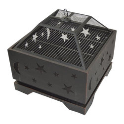 HIO - HIO Extra Deep Wood Burning Stars & Moons Fire Pit With Cover,26-Inch - HIO fire pit with heavy duty cast iron bowl brings warmth to your garden or patio.It has four sturdy steel legs which support the whole strong steel bowl.The high-quality and classic brick pattern attractive many friends and families join in your campfire party.It makes any cool outdoor areas become a warm and funny place.