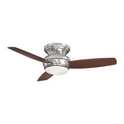 Minka Aire Fans - 44-Inch Wet Rated Ceiling Fan with Light Kit - F593-PW - Contemporary / modern pewter 1-light outdoor ceiling fan. Achieve cool comfort inside and out with this wet location ceiling fan. The integrated light kit features white opal glass and includes a cap for non-light use. A full function wall control regulates speed, direction and light dimming. Takes (1) 100-watt halogen T4 bulb(s). Bulb(s) included. UL listed. Wet location rated.