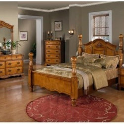 Sunset Trading Bryant Poster Bed Set - Oversized luxury. The Sunset Trading Bryant Poster Bed Set has strong, traditional styling and is perfectly proportioned to fit today's larger homes. Each piece in this collection is made from solid pine with a homey, honey pine finish. Details include articulated burnished drawer pulls, carved scallops, and ribbed columns. The masterpiece is the four poster bed with turned posts and scalloped head and footboard. Case pieces in this collection are all dust-proofed, created using butt joints and corner block reinforcements. The drawers are crafted with French dovetail joinery in the front and English dovetail joinery in the back. All drawers include drawer stops and full extension glides to maximize usable space.The Bryant Poster Bed Set has several configuration options available. All include the stunning poster bed and your choice of bedroom essentials: there is a smart two-drawer nightstand, spacious five-drawer chest, matching beveled glass mirror, and wide seven-drawer dresser. The perfect bedroom set to turn your bedroom into a retreat.About Sunset TradingThis product is designed and manufactured by Sunset Trading. Located in Londonderry, New Hampshire, Sunset Trading creates high quality furniture for bedrooms, living and dining rooms. Their furniture features side roller drawer guides, four corner English dovetails, solids and veneers. Dining rooms feature epoxy resin constructed chairs with metal support brackets, which make their chairs 100 times stronger than glued chairs. Rest assured you're making an excellent choice when you purchase a fine furniture item from Sunset Trading.