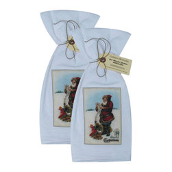 Golden Hill Studio - A Joyful Christmas Flour Sack Towel Set of 2 - This lovely Flour Sack Towel set features a Santa from a post card of the 1800s.  Printed and Assembled in the USA!