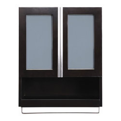 Decolav - Tyson 22 in. Wall Cabinet in Espresso - 5248 - Manufacturer SKU: 5248-ESP. Part of the Tyson bath furniture collection. Solid wood frame with espresso finish. Double front doors with frosted glass inset panels and self closing hinges. Adjustable interior shelf and open storage cubby with towel bar. Satin nickel hardware. Designed to coordinate with Decolav vanity, model 5247. Pre-assembled for quick and easy installation. 9 in. L x 22 in. W x 26 in. H. Installation InstructionsDECOLAV's Tyson Wall Cabinet has double front doors with inset frosted glass panels and an adjustable interior shelf. Soft closing hinges provide a smooth secure close. An open cubby storage area with towel bar offers extra storage space for all your bathroom necessities. With the simple lines and a solid shape the Tyson Collection gives your bathroom a modern city look and feel.