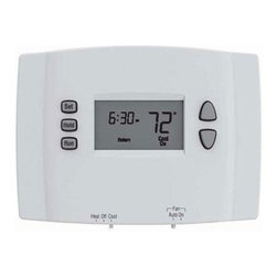 Honeywell Home - Programmable Thermostat White - Honeywell 5-2 Day Programmable Thermostat.  Weekday/Weekend Programming - One program for the weekdays and a separate program for the weekends with 4 program periods per day.  Energy Savings - Program to save up to 33% on annual heating and cooling costs (if used as directed.  Savings may vary depending on geographic region and usage).  Easy to Use - Basic operation keeps programming easy.  Precise temperature control of +/-1 F to maximize comfort.  Works with heating and cooling systems plus heat pumps without back-up heat.  Does not work with heat pump systems with back-up heat, multi-stage heating/cooling systems and electric baseboard heat (120-240V).  Works with low volt heating/cooling systems including millivolt & heat pumps without auxiliary heat.  Easy to install.  Backlit display.
