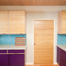 Bamboo Doors - Flush Door 3 Panel Strand Woven Wheat with 2 Stainless Steel Inlays