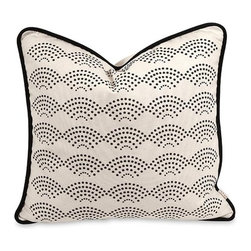 iMax - Iffat Khan Ledux Pillow with Down Insert - A soft white cotton cover is embellished with a dotted scale pattern in contrast to the Lalasa pillow designed by Iffat Khan. With down fill.