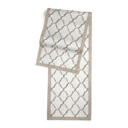 Silver Embroidered Quatrefoil Custom Table Runner - Set a table for a king! or just your family and friends!! with our gorgeous Tailored Table Runner. Solid edging adds a touch of refinement, perfectly setting off the center fabric. We love it in this classic quatrefoil trellis embroidered in gold on dark beige linen-like ground. Every room can use a little glitz and glamour!