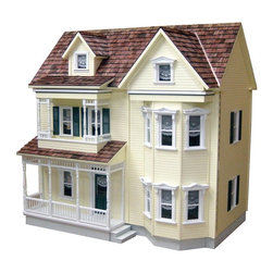 Real Good Toys - Real Good Toys Front-Opening Country Victorian Dollhouse Kit - 1 Inch Scale Mult - Shop for Dollhouses and Dollhouse Furnishings from Hayneedle.com! Evoke the beauty of the past with the Real Good Toys Front-Opening Country Victorian Dollhouse Kit - 1 Inch Scale. This exciting design with tall steep-pitched roof exudes classic Victorian elegance and charm. This remarkable three-story front-opening model includes 10 rooms with impressive 10-inch floor-to-ceiling height. Designed to last this durable MDF house boasts sturdy 0.375-inch thick milled clapboard exterior walls and grooved sidewalls. These ensure easy one-step assembly guaranteed fit and durability. Among its other features are 0.375-inch thick upper floors fancy porch posts and spindles moveable room dividers preassembled windows and doors and hand-split octagonal pine wooden shingles for the roof. The detailed staircase with banisters and landing rails reflects the uncompromising craftsmanship that went into the creation of this model adding fanciful form to an already handsome design. Custom hinges and shutters are also included. This ready-to-assemble model will take approximately 30 hours to assemble and finish. Step-by-step instructions with detailed drawings are included. Recommended supplies include a hammer fine-toothed saw glue utility knife masking tape sandpaper paint brushes screwdriver and ruler. This exquisite kit is suitable for use by collectors. As it includes small pieces it's not recommended for children under the age of 3. About Real Good ToysBased in Barre Vt. Real Good Toys has been handcrafting miniature homes since 1973. By designing and engineering the world's best and easiest to assemble miniature homes Real Good Toys makes dreams come true. Their commitment to exceptional detail the highest level of quality and ease of assembly make them one of the most recommended names in dollhouses. Real Good dollhouses make priceless gifts to pass on to your children and your