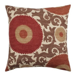 """Z Gallerie - Fahri Pillow 26"""" - Take a fresh approach to your decor by adding the bold pattern and rich color of our outstanding clove Fahri Pillow to your furniture pieces. A striking tribal Suzani and vine motif, in warm shades inspired by the spices of exotic open markets, is printed on textural cotton slub. The pillow is filled with a sumptuous feather/down insert for the ultimate in comfort."""
