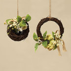 ZiaBella - Secret Garden Mini Nest & Wreath Set - Add a touch of gorgeous greenery to the décor with hanging arrangements that effortlessly accent a home or garden's décor.   Includes nest and mini twig wreath 6'' diameter Silk / polyester / twine / plastic Imported