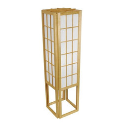 "Oriental Furniture - 45"" Window Pane Shoji Lamp - Natural - This 45"" tall Window Pane Shoji Lamp showers soft, soothing light onto its surroundings. Constructed from Scandinavian spruce and washi rice paper, its design is inspired by traditional shoji screens. At once timeless and contemporary, this lamp will make an elegant addition to any room."