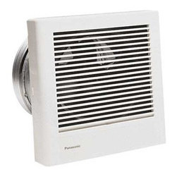 Panasonic - 70-CFM Wall Ventilation Fan - PN FV-08WQ1 - This wall ventilation fan produces only 1.1 sones of noise while achieving 70 cubic feet per minute of air flow. This piece comes with an 8-inch diameter duct sleeve to accommodate varying wall thicknesses. It can go through 10 inches of wall. The grill measures 10-1/4 inches square and protrudes 3 inches from the wall. Wet location rated.