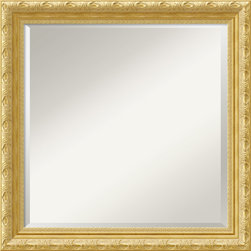 Amanti Art - Versailles Square Wall Mirror - Guaranteed to brighten any room in your house, this square mirror features a gold frame highlighted by a champagne patina with a floral pattern on the outer edge and a delicate filigree pattern on the inner. A real classic.