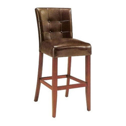 "ACMACM07242 - Set of 2 Wood and Brown Vinyl Parson Counter Height Stools - Set of 2 wood and brown vinyl parson counter height stools with button tufted backs, 24"" seat height stools. Some assembly required."