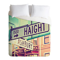 DENY Designs - Shannon Clark Haight Ashbury Duvet Cover - Turn your basic, boring down comforter into the super stylish focal point of your bedroom. Our Luxe Duvet is made from a heavy-weight luxurious woven polyester with a 50% cotton/50% polyester cream bottom. It also includes a hidden zipper with interior corner ties to secure your comforter. it's comfy, fade-resistant, and custom printed for each and every customer.