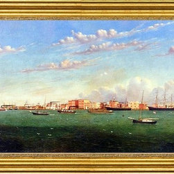 """William Aiken Walker-14""""x28"""" Framed Canvas - 14"""" x 28"""" William Aiken Walker View of Galveston Harbor framed premium canvas print reproduced to meet museum quality standards. Our museum quality canvas prints are produced using high-precision print technology for a more accurate reproduction printed on high quality canvas with fade-resistant, archival inks. Our progressive business model allows us to offer works of art to you at the best wholesale pricing, significantly less than art gallery prices, affordable to all. This artwork is hand stretched onto wooden stretcher bars, then mounted into our 3"""" wide gold finish frame with black panel by one of our expert framers. Our framed canvas print comes with hardware, ready to hang on your wall.  We present a comprehensive collection of exceptional canvas art reproductions by William Aiken Walker."""
