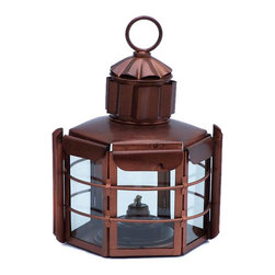 "Handcrafted Model Ships - Antique Copper Clipper Oil Lamp 15"" - Vintage Oil Lamp - This Antique Copper Clipper Oil Lamp 15"" is an authentic marine ship lamp. Handcrafted from cast iron to creates a vintage clipper lamp as used in the 19th century to assist with lighting dim or dark areas. This hexagonal ship lantern is true to the original design of period lamps. Our boat lantern is fully functional and simply needs oil to omit light."