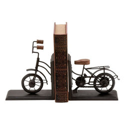 Benzara - Bookend Pair Metal with Classic Cycle Design - Worried about ensuring safety of your special books. Beautiful Bookend Metal with Classic Cycle Design (Pair) can give that special book the special place it deserves using this metal bookend. Shaped like a classic bicycle from the years gone by, this Metal Bookend with a Cycle Design lets you place a book in a perfect space at the middle of the bicycle. With its stable base and adorable metallic finish, this bookend is sure to add an indelible and unmistakable rustic touch to your book case, study table or any other personal space. This metallic bookend with its beautiful design makes for a great gift for a friend who is a true book lover. Made from durable metal, this bookend is resistant to rust and is sure to cradle your favorite classic for many years to come..