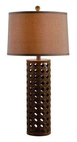 Kenroy Home - Kenroy 32272CHOC Marrakesh Table Lamp - Marrakesh showcases its Moroccan spirit in a pattern of indents and inlay adorning an openwork cylindrical base.  Available in 2 contrasting finishes.