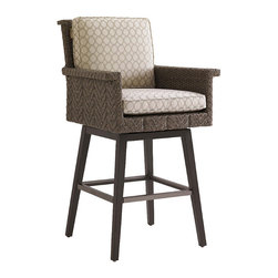Frontgate - Blue Green Swivel Outdoor Bar Stool, Patio Furniture - Aluminum frame has a unique textured finish and features a full 360-degree swivel and footrests with protective covers. Fabrics feature tightly woven mold- and mildew-resistant fibers, solution-dyed to resist UV fading, with a durable finish for superior stain and water resistance. Plush WeatherGuard cushions feature: a 1.8 lb.-density inner core of high-resiliency foam that functions like a box spring; a layer of soft-cell foam for mattress-like comfort; a layer of naturally anti-microbial spun polyester fiber; and a layer of thermally sealed non-woven ticking to prevent water penetration. High-density polyethylene wicker offers a high tensile strength, low maintenance and resistance to UV exposure, mildew, fading, staining, stretching and cracking. All-weather wicker is easy to clean with a mild solution of soap and water. Ground your outdoor space with hand-woven warmth, applied to all-weather contemporary styling. Defined by a distinctive channeled herringbone design of slate-gray wicker, the Blue Olive Swivel Bar Stool is engineered to deliver enduring comfort and sophistication. The high track arms, thick armrest, tilted back and 360-degree swivel cater to laid-back entertaining, while advanced materials resist mold, mildew, stains, water and UV fading.  .  .  .  .  .