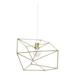 Iacoli & McAllister - Small Brass Spica - Draw the line at boring design. This pendant light is framed by a seemingly random array of lines, making it different from every angle. Its wildly original looks are bound to delight and surprise your guests (and tickle your own fancy, too).