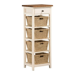 Hillsdale Furniture - Hillsdale Tuscan Retreat 4 Basket - 1 Drawer Open Side Stand in Country White w/ - Tuscan Retreat accent pieces are authentic artisan interpretations of old world and cottage furniture. Each piece is crafted from new and restored timbers to give it the appearance of a century old treasure. The finishes are hand prepared from the sanding and scarping to the final steps. Every nick  knot  nail hole patch  and seasoned crack add character to this piece  while the woven baskets add warmth and functionality. Featuring solid wood throughout  four ample storage baskets  and a extra storage drawer  this piece is designed to bring you years of enjoyment.